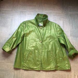 Chico's green shimmer blazer size 1 GUC